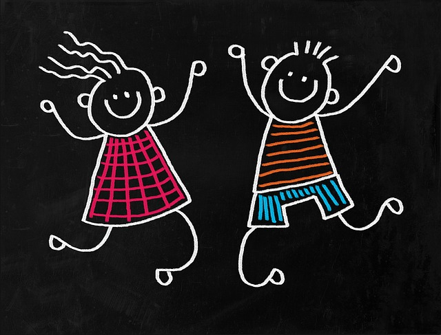 Chalkboard image: Children jumping