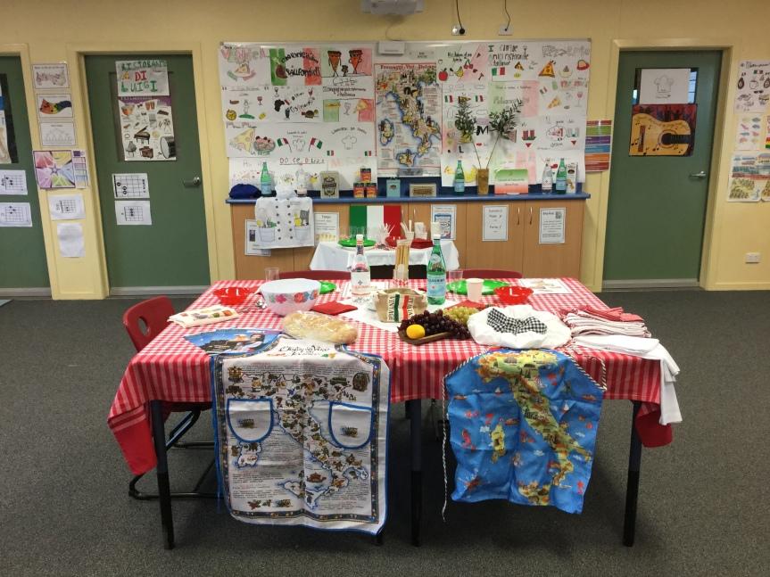 Mock Italian restaurant in classroom