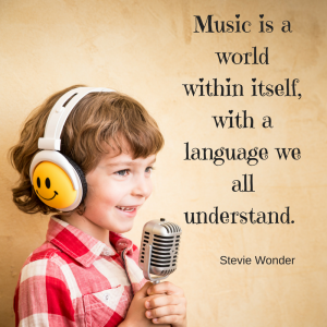 Stevie Wonder quote - music is a world within itself